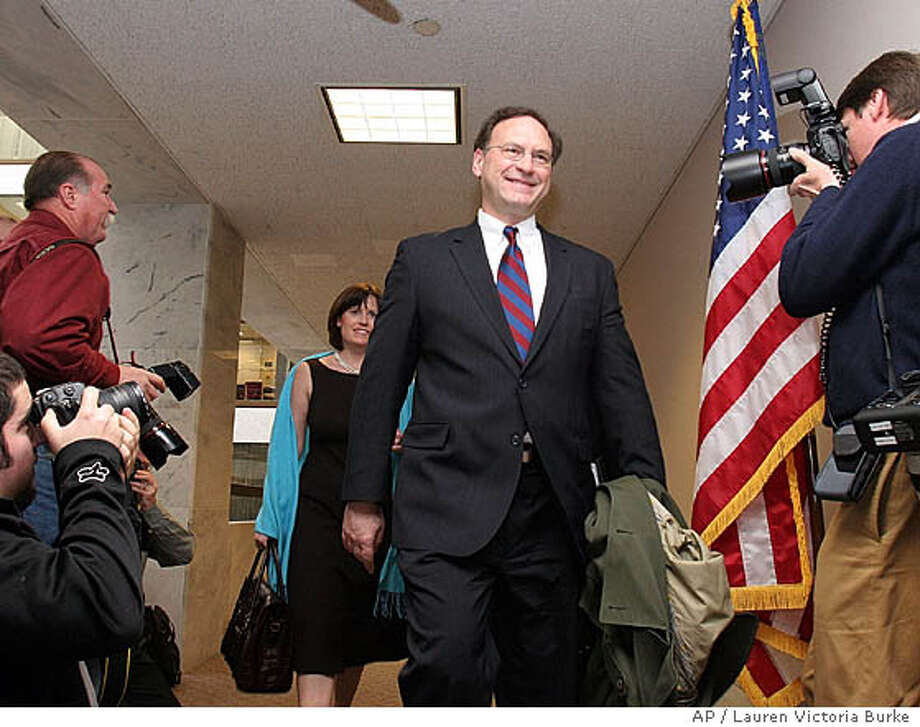 Supreme Court nominee Samuel Alito arrives for a meeting at the Capitol Hill office of newly sworn-in Sen. Robert Menendez, D-N.J. Thursday, Jan. 19, 2006. The Judiciary Committee is expected to vote Alito's nomination out of committee on Wednesday in an expected party-line vote. (AP Photo/Lauren Victoria Burke) Photo: LAUREN VICTORIA BURKE