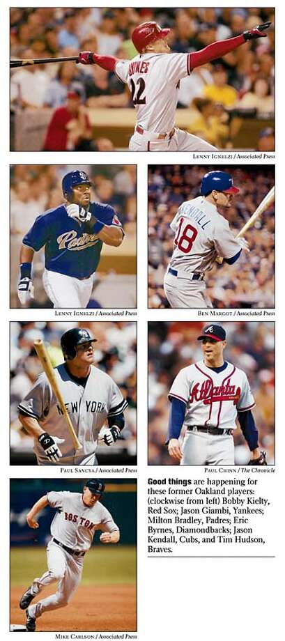 Good things are happening for these former Oakland players: (clockwise from left) Bobby Kielty, Red Sox; Jason Giambi, Yankees; Milton Bradley, Padres; Eric Byrnes, Diamondbacks; Jason Kendall, Cubs, and Tim Hudson, Braves.