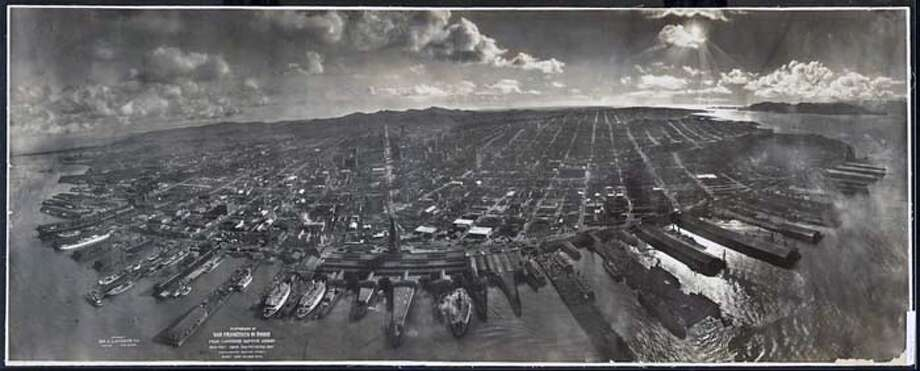 Geo. R. Lawrence Co., Photograph of San Francisco in Ruins from Lawrence Captive Airship 2,000 feet above San Francisco Bay overlooking waterfront. Sunset over Golden Gate, 1906; gelatin silver print; Prints and Photographs Division, Library of Congress, Washington, D.C. Photo: X