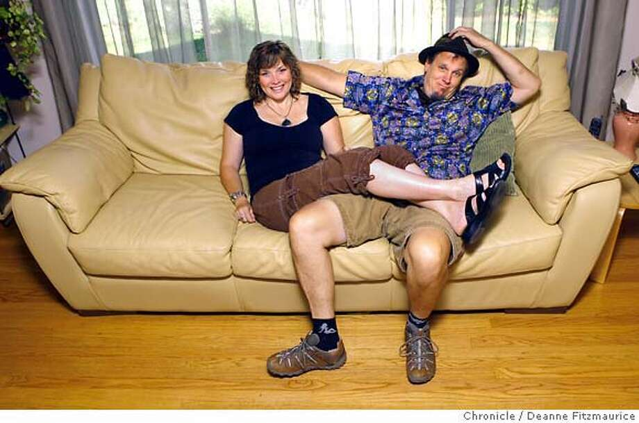 "onthecouch_0025_df.jpg  Renee and Brett Roncelli met at Burning Man and will be going there to celebrate their 6th anniversary this month. For ""On the Couch"" feature. Photographed in Sonoma on 8/14/07. Deanne Fitzmaurice / The Chronicle Mandatory credit for photographer and San Francisco Chronicle. No Sales/Magazines out. Photo: Deanne Fitzmaurice"