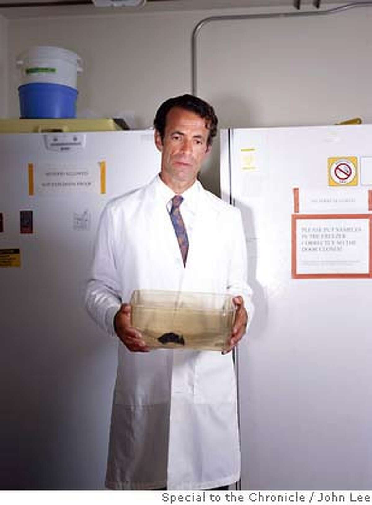 CALORIE_RESTRICTION_06_JOHNLEE.JPG BERKELEY, CALIFORNIA - AUG 13: Calorie restriction researcher Dr. Marc Hellerstein (cq), holding a research mouse inside his laboratory at the University of California's Department of Nutritional Sciences building. By JOHN LEE/
