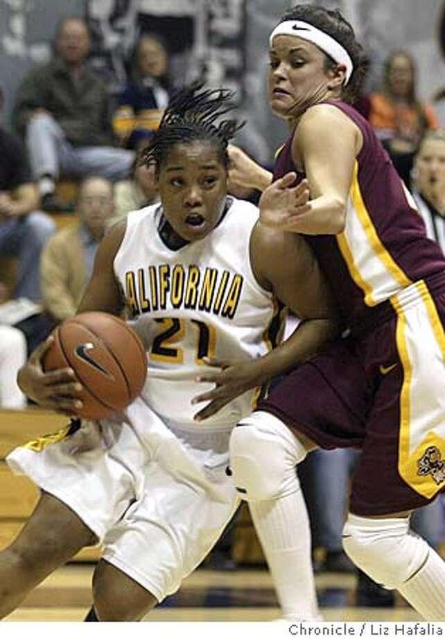Cal women basketball hosts Arizona State. #21 Alexis Gray-Lawson drives past #22 Jill Noe during the second quarter. Photographed by Liz Hafalia on 1/19/06 in Berkeley, California. SFC Photo: Liz Hafalia