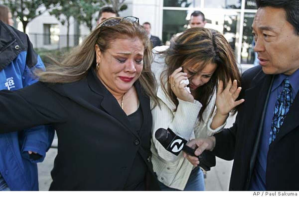 Anna Ayala's sister, Mary Ayala, left, and Anna Ayala's daughter, Genesis Reyes, center, are questioned by a television reporter, right, as they leave a Santa Clara County Superior Court in a San Jose, Calif., Wednesday, Jan. 18, 2006 after Ayala and her husband, Jaime Plascencia, were sentenced. Plascencia and Ayala, who cooked up a scheme last March to plant a severed finger in a bowl of Wendy's chili to extort money from the fast food chain, were sentenced to lengthy prison terms. (AP Photo/Paul Sakuma)