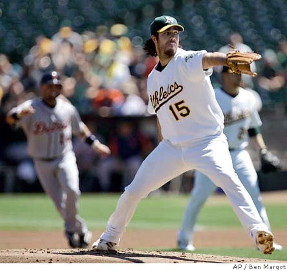 Oakland Athletics' Dan Haren works against the Detroit Tigers in the first inning of a baseball game Saturday, Sept. 1, 2007, in Oakland, Calif. (AP Photo/Ben Margot) Photo: Ben Margot