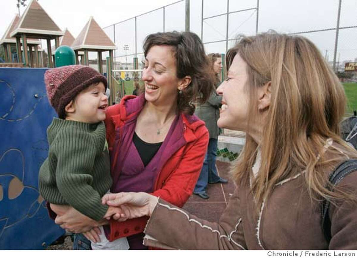 SFSCHOOLS18_WEBSTER18 - Jennifer Betti plays with her son Roman Jackson (2) at Jackson Park playground as friend Dena Fischer (right) enjoys the moment. Daniel Webster Elementary, a low-performing Potrero Hill school comprised almost totally of black and Latino students from the nearby housing projects, has some unlikely backers in its fight to remain open in the face of the school board's expected Thursday night vote to shut many schools around the city. Dozens of young white moms and dads who are gentrifying Potrero Hill, one of the last San Francisco neighborhoods with semi-affordable starter homes, have babies and want to ensure their neighborhood school is open when they start kindergarten in three to five years. They are pledging to pour tens of thousands of dollars, as well as volunteer hours, into the school even before their kids go there in order to turn it around. If they don't get that opportunity, they say they'll follow so many of their friends and move to the East Bay. Experts say the only real way to turn around a low-performing school is to get this kind of dedication from parents - it has worked at a handful of schools around the city. 1/16/06 Frederic Larson