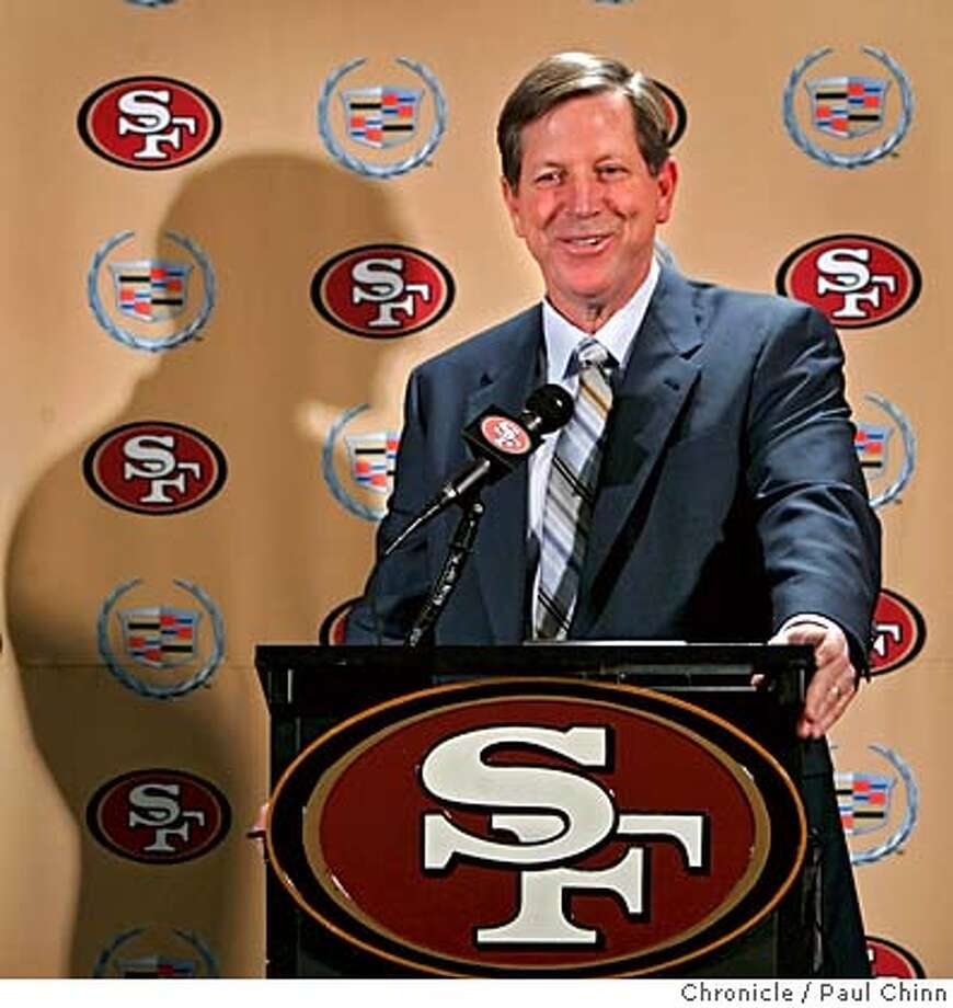 Norv Turner smiles at a news conference after the San Francisco 49ers hired him as offensive coordinator at the team's headquarters in Santa Clara, Calif. on 1/17/06. Turner was recently fired as head coach of the Oakland Raiders.  PAUL CHINN/The Chronicle Photo: PAUL CHINN