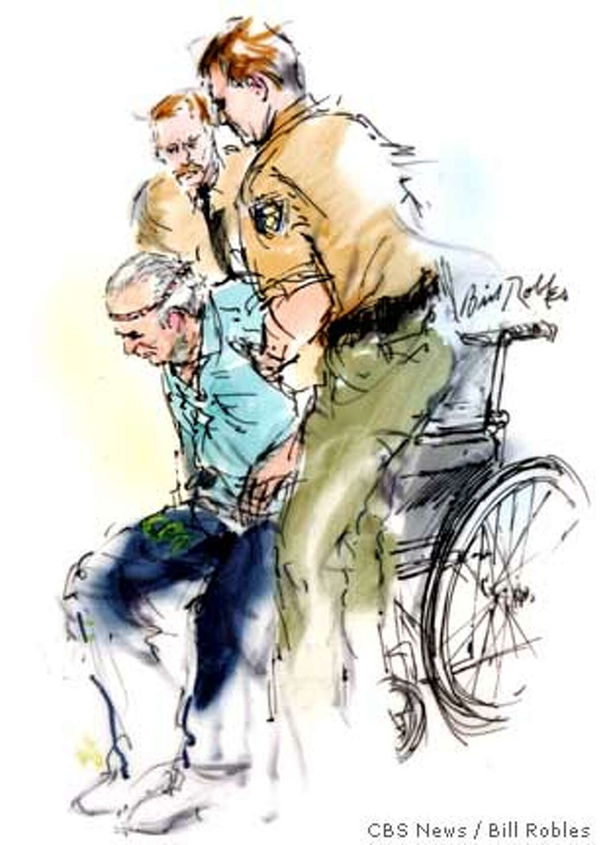 Artist drawing of Clarence Ray Allen being lifted by two San Quentin Prison guards before he was executed in San Quentin, Calif., Tuesday, Jan. 17, 2006. Allen, 76, ordered the slaying of three people at a Fresno, Calif., market while behind bars in 1980 for another murder. (AP Photo/Mandatory credit: Bill Robles for CBS News)