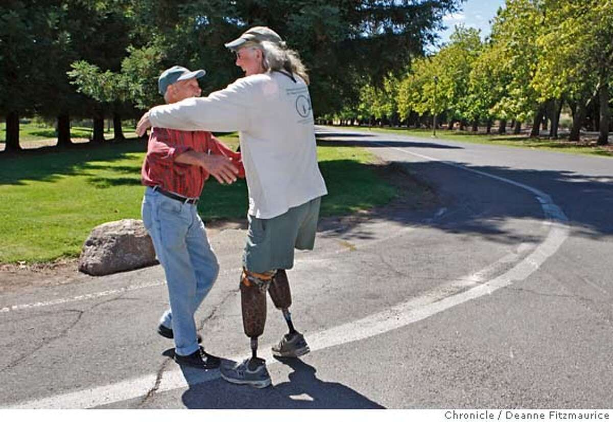 willson_019_df.jpg Brian Willson (cq) (right) who lost in legs when a train ran over him in Concord 20 years ago while he was protesting munitions being shipped to Central America, meets up with his old friend Duncan Murphy who was also on the tracks that day. Duncan lives at the Veterans Home in Yountville and that is where they are meeting after not seeing each other for a couple of years. Photographed in Yountville on 8/31/07. Deanne Fitzmaurice / The Chronicle Mandatory credit for photographer and San Francisco Chronicle. No Sales/Magazines out.