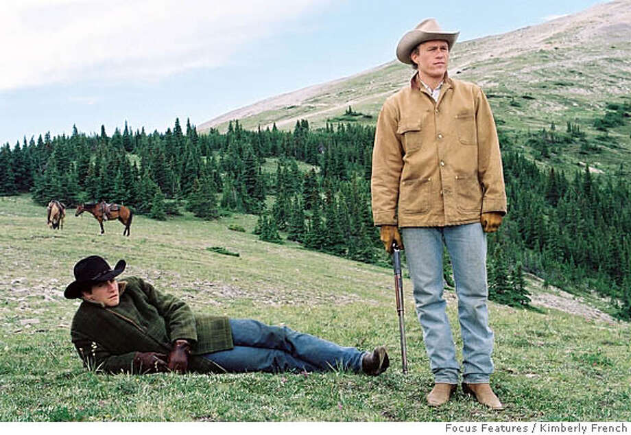 "This publicity photo provided by Focus Features shows actors Jake Gyllenhaal, left, and Heath Ledger, in a scene from ""Brokeback Mountain."" Gay-rights leaders are elated that the tale of same-sex love and heartbreak is reaching mainstream filmgoers, while conservatives are dismayed by the film's glowing reviews and rooting for it to fail at the box office.(AP Photo/Focus Features, Kimberly French) Ran on: 01-08-2006  Jake Gyllenhaal (left) and Heath Ledger in &quo;Brokeback Mountain&quo;: True love is bigger than gender. Photo: Focus Features"
