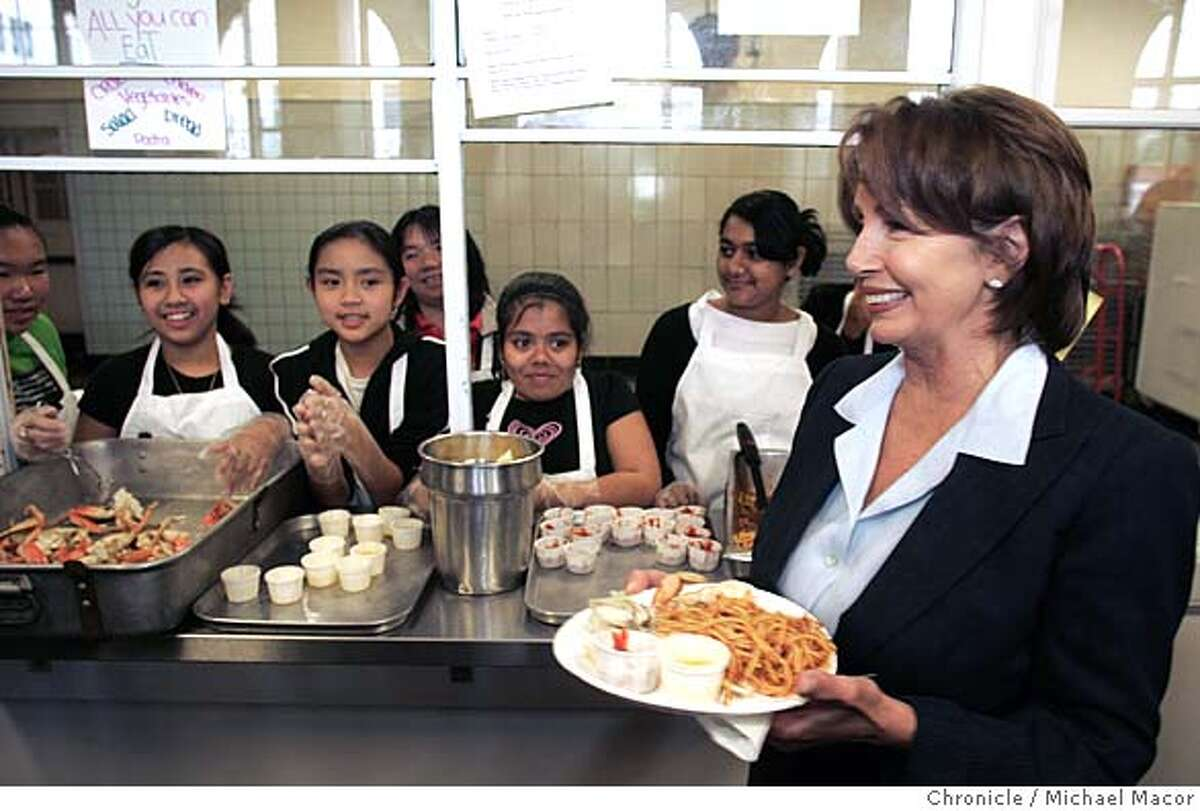 pelosi_289_mac.jpg Pelosi joined the 8th grade class at Marina Middle School for a fund raiser lunch, following the Town Hall Meeting. The fundraiser is going to a fund for a trip to Washington DC. Congresswoman Nancy Pelosi's Townhall meeting on Iraq and national security is expected to draw 100's of citizens and some protesters, as well. Marina Middle School in the Marina District. Event in San Francisco, Ca on 1/14/06. Photo by: Michael Macor / San Francisco Chronicle Mandatory Credit for Photographer and San Francisco Chronicle/ - Magazine Out