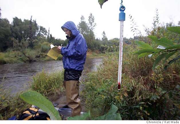 On 9/6/05 in Ninilchik AK Sue Mauger, a stream ecologist with the Cook Inlet Keeper, weathers the rain to record information from both the in stream temperature logger and air temperatures of the Ninilchik River for a three year study of the changing temperatures of air and water on the Kenai Peninsula in southern Alaska.  Kat Wade/The Chronicle Photo: Kat Wade