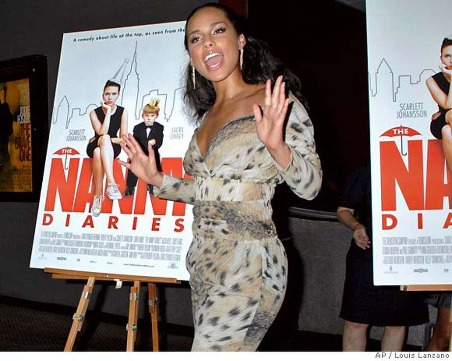 """Cast member Alicia Keys arrives for the screening of """"The Nanny Diaries"""", Monday, Aug. 13, 2007, in New York. (AP Photo/ Louis Lanzano) Photo: Louis Lanzano"""