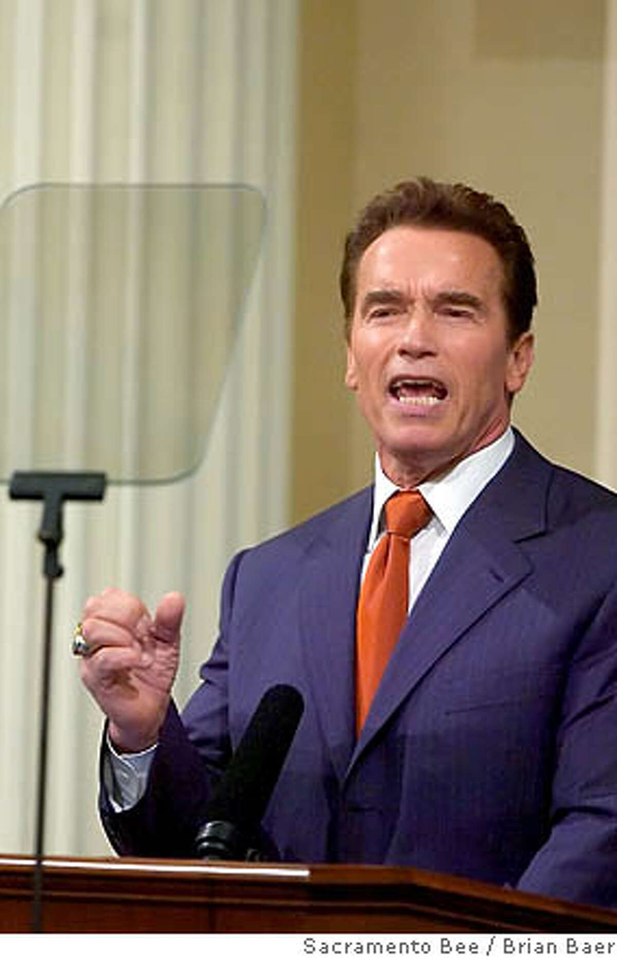 California Governor Arnold Schwarzenegger, address both legislative houses as he makes his State of the State address inside the Assembly chamber, Thursday Jan. 5, 2005. Sacramento Bee/ Brian Baer Ran on: 01-07-2006 The governor wants to issue $68 billion in state bonds during the next decade.