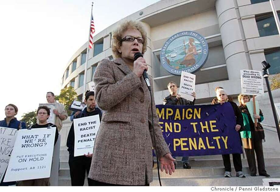 ALLEN_PROTEST_085_PG.JPG  State senator Carol Migden expresses her opinion about the death penalty at the protest today.  Rally with the Defenders of Clarence Ray Allen, sked to die next tues. at san quentin at the State Building.  Photo by Penni Gladstone/The San Francisco Chronicle  Photo taken on 1/12/06, in San Francisco, CA. Photo: Penni Gladstone