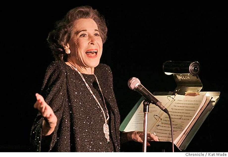 KITTY_0030_KW_.jpg On 1/11/06 in San Francisco 95-year-old Kitty Carlisle Hart, opens her act at The Plush Room at the York Hotel accompanied by David Lewis on piano.  Kat Wade MANDATORY CREDIT FOR PHOTOG -MAGS OUT Photo: Kat Wade