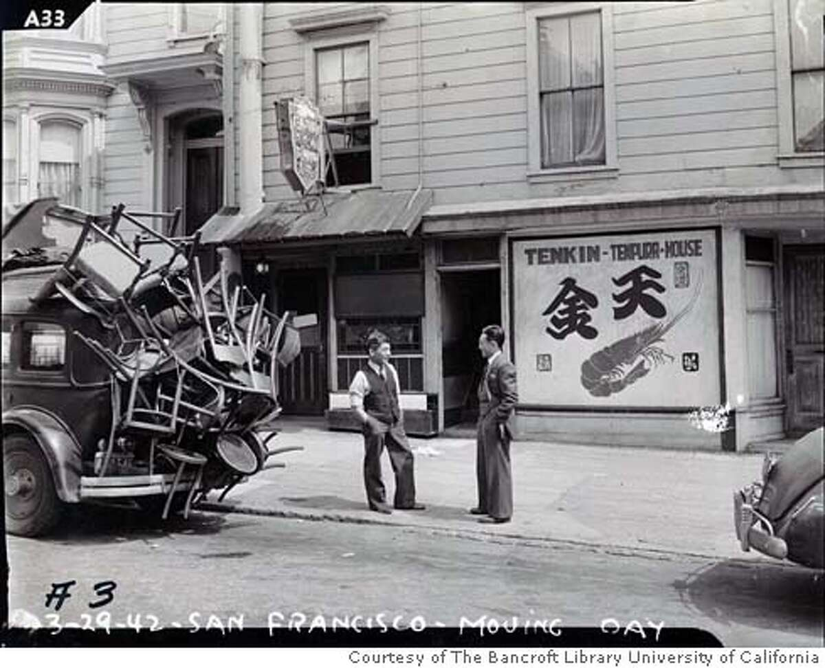CENTENNIAL_002_MJM.jpg On March 29, 1942 evidence of the forthcoming evacuation of residents of Japanese ancestry is seen in Japantown. Historical photos from Japantown in San Francisco circa the early 1900's. Courtesy of The Bancroft Library University of California, Berkeley MANDATORY CREDIT FOR PHOTOG AND SF CHRONICLE/ -MAGS OUT