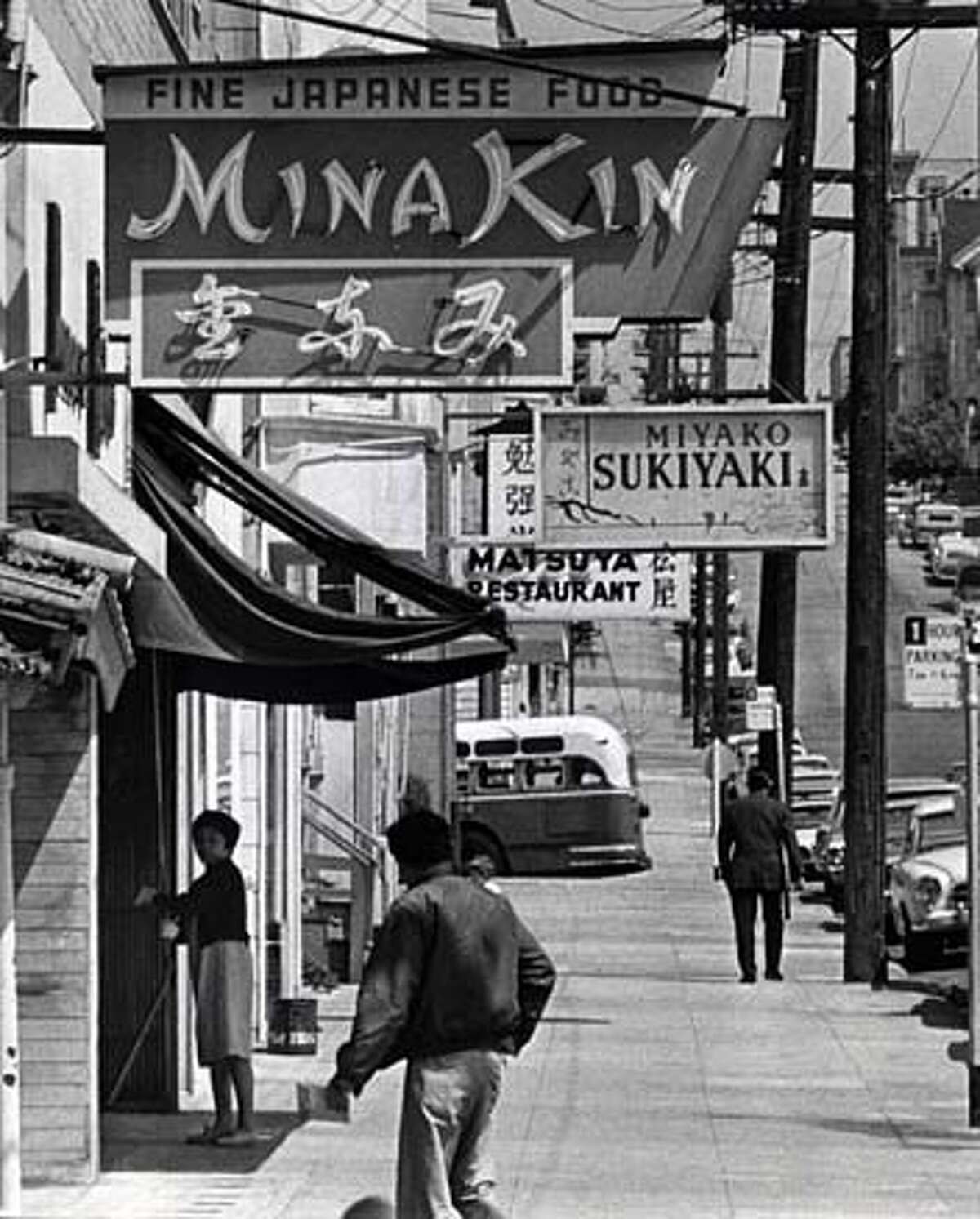 Buchanan Street between Post and Sutter streets boasted small shops and restaurants in the summer of 1966. Chronicle file photo,1966