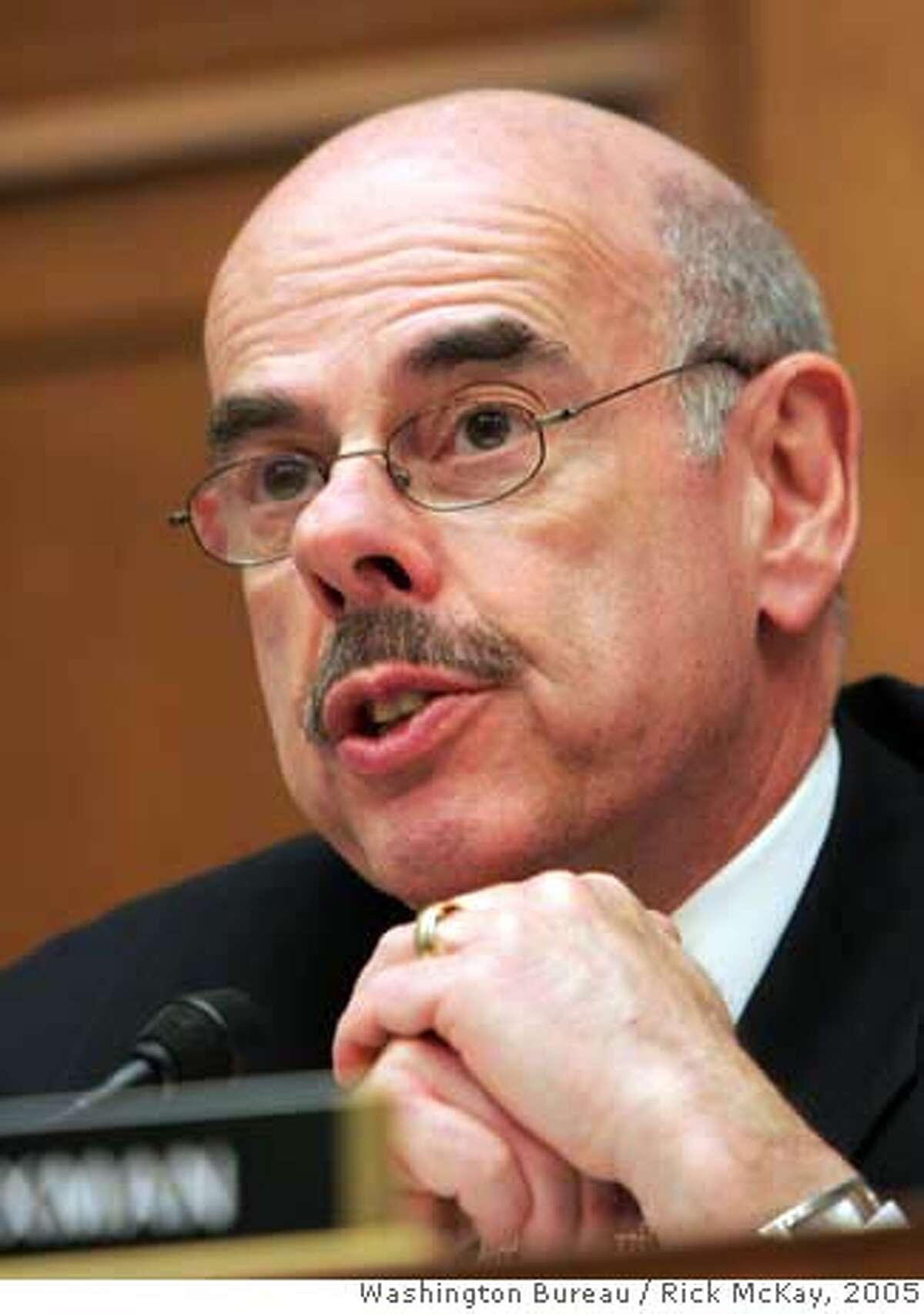 """Photo by Rick McKay/Washington Bureau slug: COX-OVERCLASSIFY03 WASHINGTON... Rep. Henry A. Waxman,D-Ca., questions a witness Wednesday, March 2, 2005, at a House hearing on the overclassification of government documents. """"The American people understand that some information must be kept secret to protect the public safety,"""" Waxman said. """"But when the government systematically hides information from the public, government stops belonging to the people."""" (Photo by Rick McKay/Washington Bureau) Ran on: 03-14-2005 Rep. Henry Waxman says Barry Bonds may come before us at some future hearing. Ran on: 03-14-2005 Rep. Henry Waxman says Barry Bonds may come before us at some future hearing. Ran on: 03-16-2005 Republican Rep. Tom Davis of Virgina, left, and Democratic Rep. Henry Waxman of Los Angeles are veterans of investigations carried out by the Government Reform Committee, which Davis chairs. Ran on: 04-01-2005 Rep. Thomas Davis, a Virginia Republican, chairs the panel looking into doping by athletes. Ran on: 07-23-2006 Rep. Henry Waxman, D-Los Angeles, uses exhaustive research to influence issues. ALSO Ran on: 05-28-2007 Rep Henry Waxman (at podium) has worked on such groundbreaking legislation as the Clean Air Act during his tenure. The thing that brings me the most satisfaction is to pass legislation that I know is going to make an important difference in peoples lives, he says. ALSO Ran on: 06-22-2007 Vice President Dick Cheney is exempt from the rules, his office contends. Ran on: 07-17-2007 Pat Tillman Ran on: 07-17-2007 Pat Tillman Nation#MainNews#Chronicle#4/1/2005#ALL#5star##0422667783"""