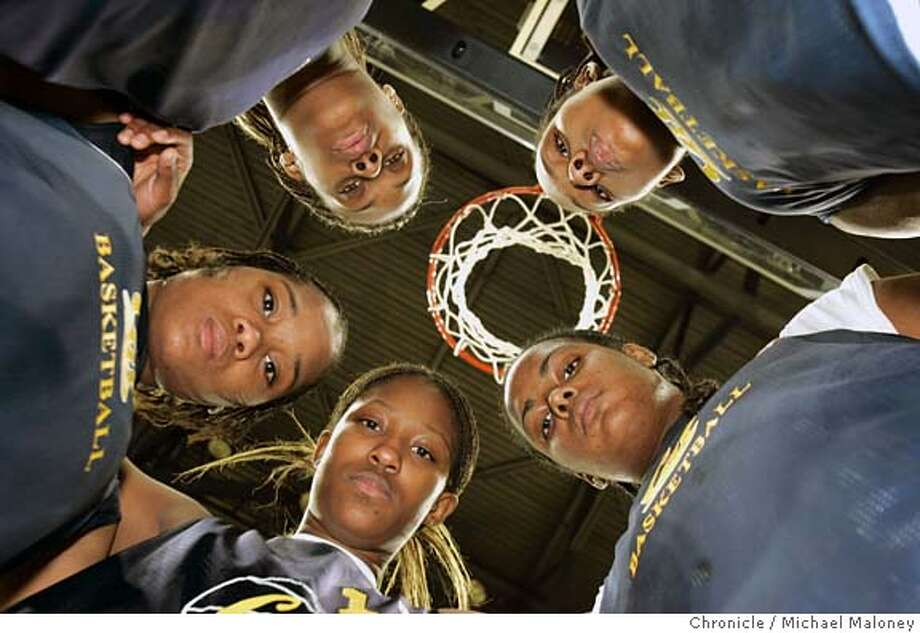 CALWOMEN_101_MJM.JPG  CLOCKWISE FROM BOTTOM LEFT : Jene' Morris, Alexis Gray-Lawson, Devanei Hampton, Ashley Alker and Shantrell Walker.  Cal women's basketball team being led by an impressive group of freshmen. Devanei Hampton (#20) is their leading scorer, followed by fellow freshmen Alexis Gray-Lawson (21), Ashley Alker (44) and Jene' Morris (5) as the top four scorers. A fifth freshmen, Shantrell Walker (24), completes to top recruit class. Event in Berkeley, CA  Photo by Michael Maloney / The San Francisco Chronicle MANDATORY CREDIT FOR PHOTOG AND SF CHRONICLE/ -MAGS OUT Photo: Michael Maloney