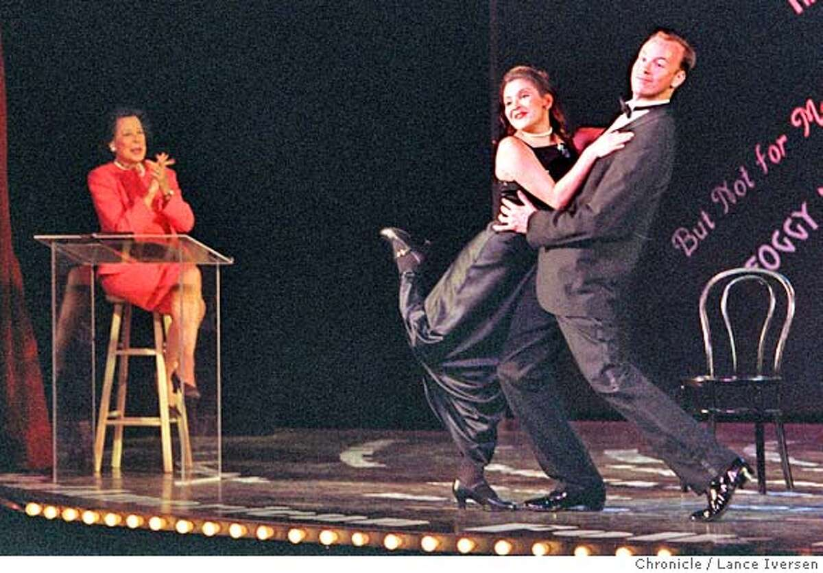 GERSHWIN 1/C/7MAY97/DD/LI Moderator Kitty Carlisle Hart, looks on as Liana Young & Dan Johnson finish their Gershwin number during dress rehearsal at the Gershwin Theater on the campus of University of San Francisco.. By Lance Iversen/San Francisco Chronicle CAT
