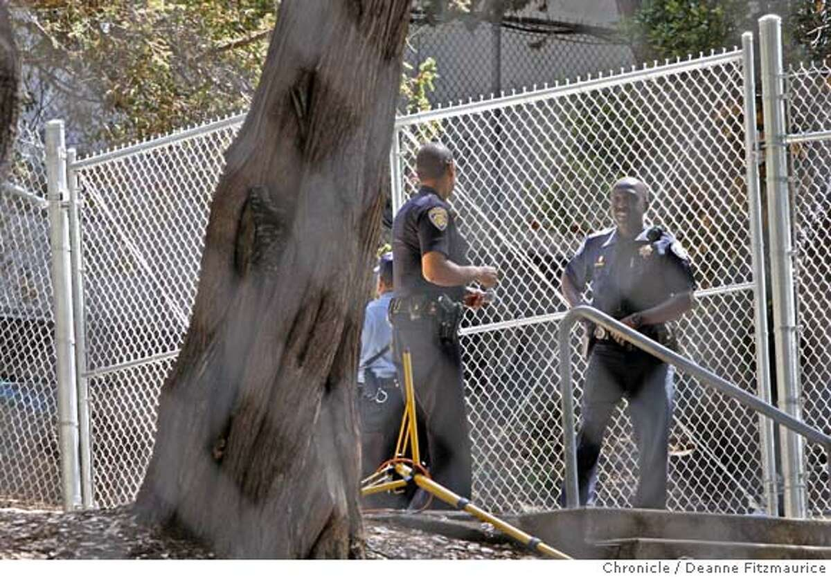 treesitters31_037_df.jpg Security guards and a chain link fence around the grove are the latest additions to the site. Treesitters and their supporters are trying to protect a grove of trees from being torn down from in front of Memorial Stadium at UC Berkeley. Photographed in Berkeley on 8/30/07. Deanne Fitzmaurice / The Chronicle