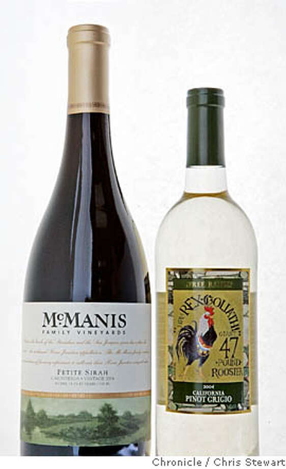 bargain120010.jpg Event on 1/5/06 in San Francisco.  2004 McManis Family California Petite Sirah (front) and 2004 HRM Rex Goliath California Pinot Grigio.  Chris Stewart / The Chronicle MANDATORY CREDIT FOR PHOTOG AND SF CHRONICLE/ -MAGS OUT Photo: Chris Stewart