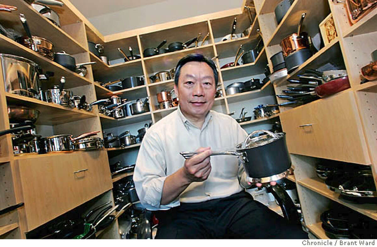 Stanley Cheng with his new DaVinci pot inside his personal sample room where he stores products under development. Stanley Cheng, expert cookware manufacturer and winemaker. He runs the Meyer Corp. in Vallejo and then drives to his magnificent vineyard in Napa County. Brant Ward12/8/05