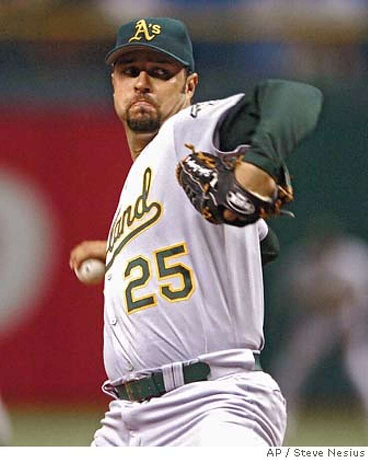 Oakland Athletics starter Esteban Loaiza pitches against the Tampa Bay Devil Rays during the second inning of a baseball game Saturday, Sept. 9, 2006, in St. Petersburg, Fla. (AP Photo/Steve Nesius)  Ran on: 09-10-2006  Esteban Loaiza retired the first eight Devil Rays, but things went sour after that.  Ran on: 09-10-2006  Esteban Loaiza retired the first eight Devil Rays, but things went sour after that. EFE OUT Photo: STEVE NESIUS