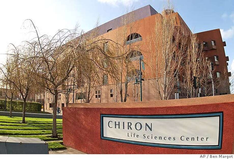 ** FILE ** The Chiron life sciences center is seen in this Wednesday, Feb. 25, 2004, file photo, in Emeryville, Calif. Beleaguered biotechnology company Chiron Corp., still smarting from two high-profile failures to deliver flu vaccines in the United States and Europe, essentially broke even in the second quarter and badly missed Wall Street expectations, the company reported Wednesday, July 27, 2005. (AP Photo/BenMargot, file) Ran on: 07-28-2005  Chiron, based in Emeryville, is still smarting from two high-profile failures to deliver flu vaccines in the United States and Europe. FEB. 25, 2004 FILE PHOTO Photo: BEN MARGOT