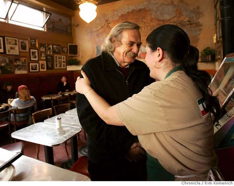 POET11_0029_KK.JPG  Jack Hirschman is congratulated by Ida Pantaleo Zoubi, counterperson at Caffe' (cq) Trieste.  Portraits of newly-named San Francisco Poet Laureate Jack Hirschman, photographed at Caffe' (cq) Trieste in North Beach  San Francisco Chronicle photo by Kim Komenich  1/10/06 Photo: Kim Komenich