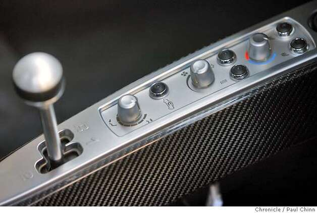 The center console of a Tesla Roadster electric car that was unveiled at a Hyatt Hotel in San Francisco, Calif. on Wednesday, August 29, 2007. The hotel chain announced plans to install several power stations at select hotels that will recharge the $98,000 vehicle.  PAUL CHINN/The Chronicle MANDATORY CREDIT FOR PHOTOGRAPHER AND S.F. CHRONICLE/NO SALES - MAGS OUT Photo: PAUL CHINN