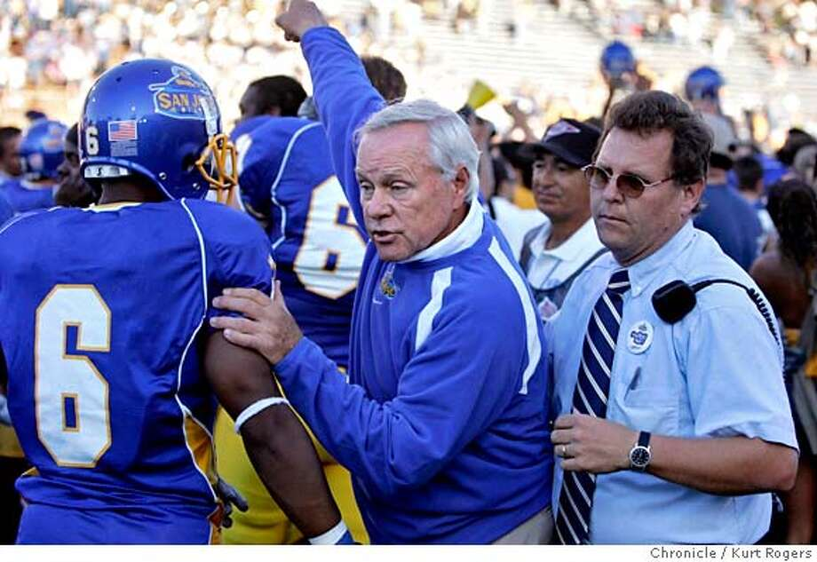 San Jose State's Head coach Dick Tomey trys to get off the field after the end where SJ beat Stanford 35-34.  Stanford Vs San Jose State at Spartan stadium.  KURT ROGERS /THE CHRONICLE SAN JOSE THE CHRONICLE  SFC STANFORD_0624_kr.jpg  Ran on: 11-10-2006  Dick Tomey says an SJSU win wouldn't be an upset.  Ran on: 11-10-2006 Ran on: 12-08-2006  San Jose State coach Dick Tomey was rewarded for his 8-4 season with a 2-year extension.  Ran on: 12-08-2006 MANDATORY CREDIT FOR PHOTOG AND SF CHRONICLE / NO SALES-MAGS OUT Photo: KURT ROGERS /THE CHRONICLE