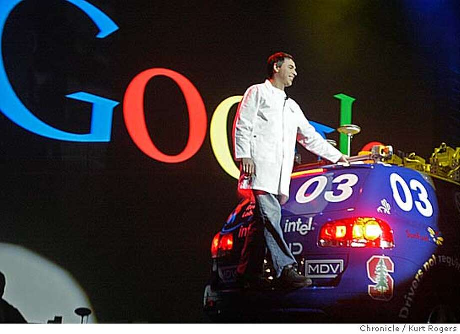 Lary Page google's President road out on the back of Stanley the Robotic car that took first place in the 2005 DARPA Grand Challenge. for his key note speach.  Consumer Electronics Show in Las Vegas .  Kurt Rogers LAS VEGAS SFC  The Chronicle Photo: Kurt Rogers