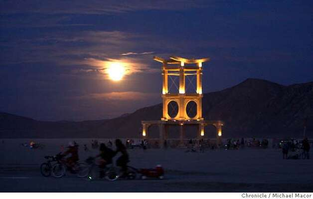The Temple of Atonement by David Best comes to life in the evening as the full moon rises over the desert. Burning Man 2007 gets up and running, officially starting yesterday.Photographed in, Black Rock City, Nv, on 8/28/07. Photo by: Michael Macor/ The Chronicle Photo: Michael Macor