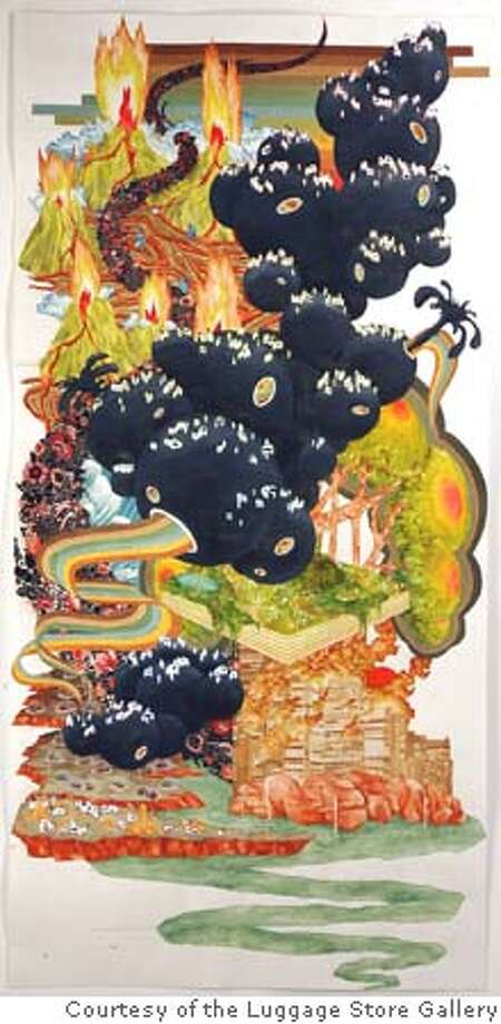 """""""Light As Air, Light as Love: Volcano Fire Makes Ash  Flowers"""" (2005) watercolor, ink and colored pencil on paper by Jen Liu Courtesy of the Luggage Store Gallery, San Francisco Photo: Ho"""