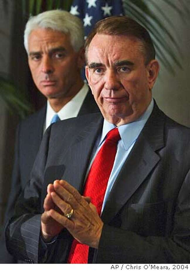 U.S. Dept. of Health and Human Services Secretary Tommy Thompson, right, gestures as he stand with Florida Attorney General Charlie Crist during a news conference Monday morning Oct. 18, 2004 in Tampa, Fla. Thompson was with Crist to announce that the Department will join the state of Florida in a case involving excessive markups of the flu vaccine. (AP Photo/Chris O'Meara) Photo: CHRIS O'MEARA