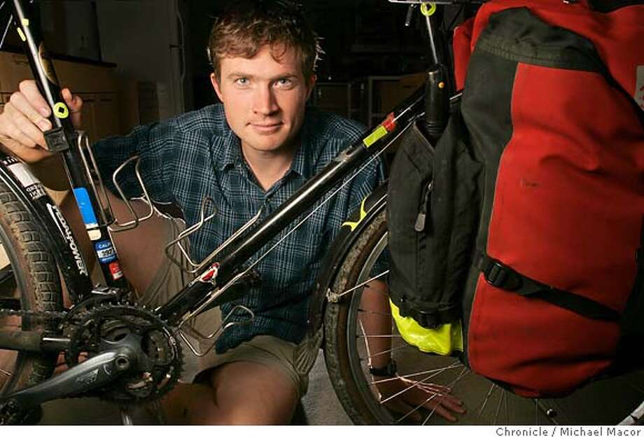 David Kroodsma is riding his bicycle to the bottom of South America in an educational mission to raise awareness about Global Warming. 11/4/05 Palo Alto, Ca. Michael Macor / San Francisco Chronicle Photo: Michael Macor