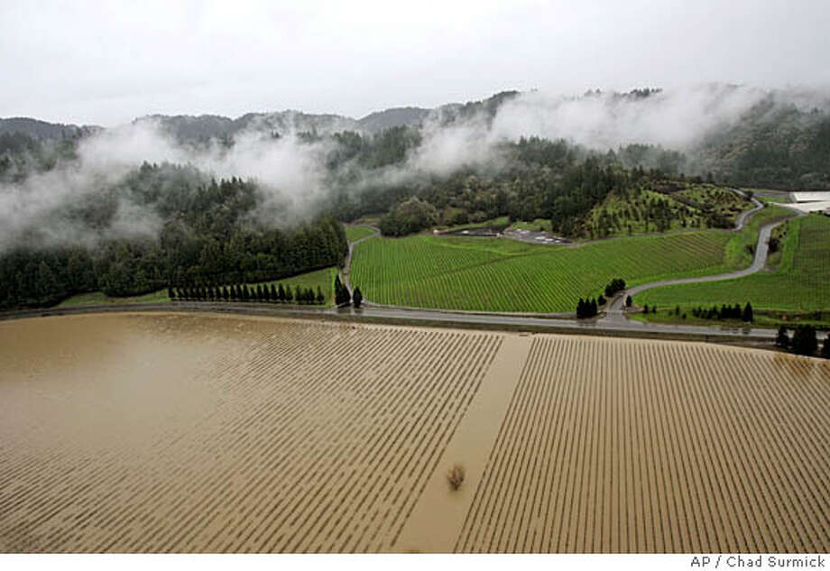 The vineyards at Korbel Cellers lie underwater between the Russian River and River Road, Monday, Jan. 2, 2006, near in , Calif. The break in the weather meant residents of Guerneville along the Russian River and other wine-country towns were able to focus Monday on initial cleanup and damage estimates. (AP Photo/Chad Surmick, Pool) Photo: CHAD SURMICK