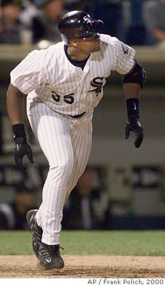 Chicago White Sox' Frank Thomas heads for first after hitting his second home run of the game in the sixth inning against the Boston Red Sox Friday, June 30, 2000 in Chicago. (AP Photo/Frank Polich) CAT Photo: FRANK POLICH