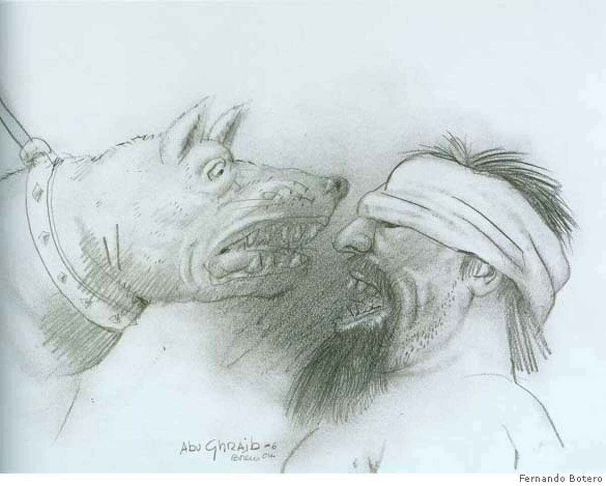Botero, Abu Ghraib 6, 2004, 30 x 40 cm, pencil on paper Ran on: 01-29-2007 Abu Ghraib 6 (2004), pencil on paper. Ran on: 08-28-2007 A pencil on paper by Fernando Botero illustrates abuse at Abu Ghraib prison. Ran on: 08-28-2007 A pencil drawing by famed artist Fernando Botero shows abuse at Abu Ghraib prison.