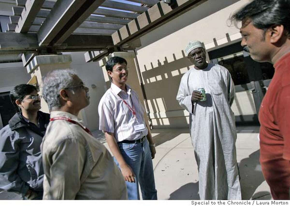 Incubator_0122_LKM.jpg Entrepreneur Mohammed Abba (second from right) of Nigeria socializes with Indian entrepreneurs Ramesh Nibhoria (right), Satish Sompalli (left) and V. Balakrishna (second from left) during the Global Social Benefit Incubator program at Santa Clara University. The GSBI is a two week residential program for social benefit entrepreneurs from around the world who have demonstrated their commitment to applying technology to address urgent human needs throughout the world. (Laura Morton/Special to the Chronicle) *** Mohammed Abba *** Satish Sompalli *** V. Balakrishna *** Ramesh Nibhoria
