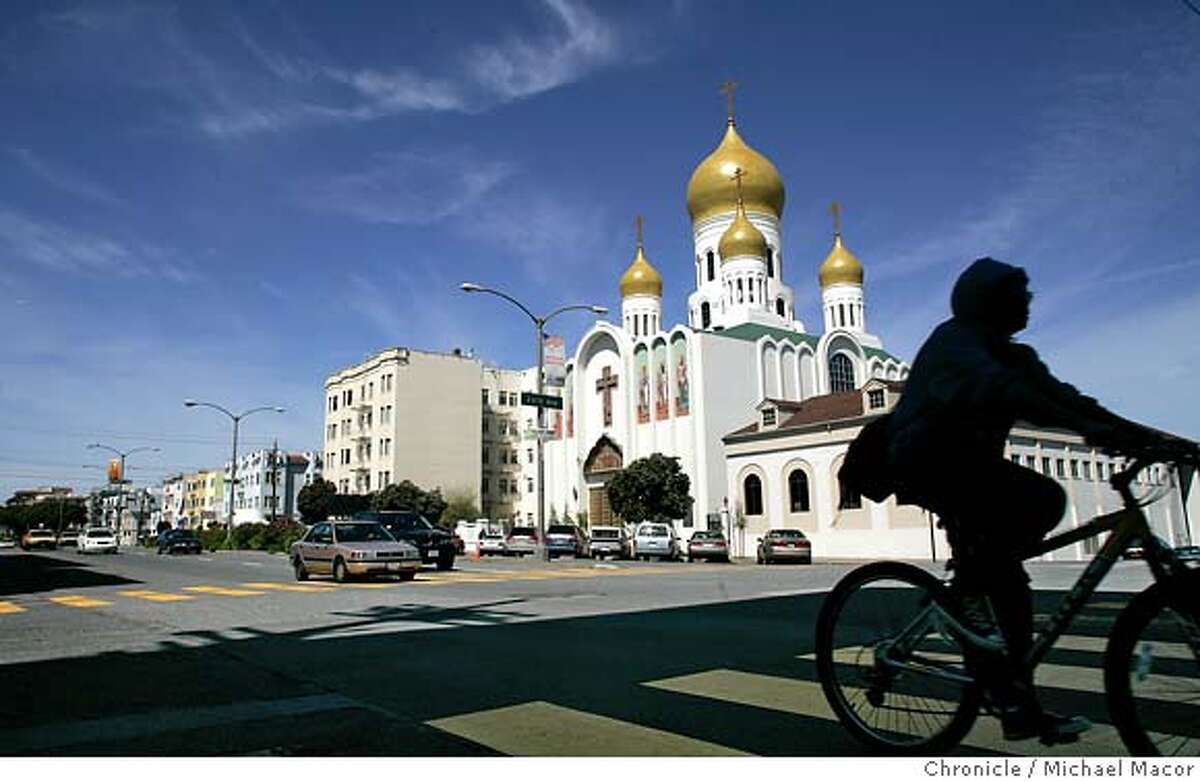 book_321_mac.jpg The Russian Orthodox Cathedral, sits at the corner of 26th and Geary Sts. Commemoration book for the one hundred year anniversary of the 1906 earthquake that destroyed much of San Francisco. 4/1/05 San Francisco, Ca Michael Macor / San Francisco Chronicle Mandatory Credit for Photographer and San Francisco Chronicle/ - Magazine Out