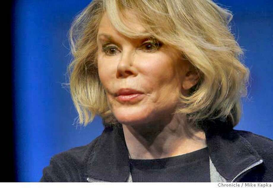 """rivers2000098_mk.JPG Joan Rivers will be staring a play called """"the Joan Rivers Theater Project,"""" at the Magic Theater in San Francisco's Fort Mason. 8/15/07  Mike Kepka/The Chronicle Jilian Wilkowski (cq) MANDATORY CREDIT FOR PHOTOG AND SF CHRONICLE/NO SALES-MAGS OUT Photo: Mike Kepka"""