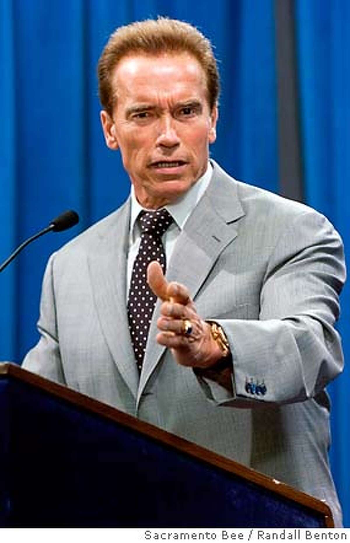 California Gov. Arnold Schwarzenegger speaks about the budget during a news conference at the California State Capitol in Sacramento, Calif. on Thursday, July 26, 2007. A four-week budget stalemate seemed likely to continue Thursday amid partisan wrangling over attempts to balance the $145 billion spending plan. (AP Photo/Sacramento Bee, Randall Benton) **MAGS OUT, TV OUT, INTERNET OUT, NO SALES **