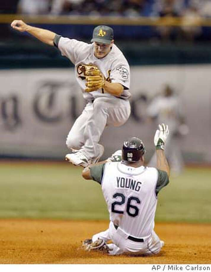 Tampa Bay Devil Rays' Delmon Young (26) slides in safely under Oakland Athletics second baseman Mark Ellis after an errant throw by third baseman Jack Hannahan during the fifth inning of a baseball game Sunday, Aug. 26, 2007, in St. Petersburg, Fla. (AP Photo/Mike Carlson) Photo: Mike Carlson
