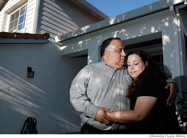 Warren Ganda and Celine Damonte outside one of their homes in Antioch where they have had to drop the price in hopes that it will sell, Monday Aug. 20, 2007, in Antioch, Ca. She has 2 daughters; he has 3; both are the custodial parents. They plan to get married and move in together, blending their families. They've put down earnest money on a brand-new 5-bedroom home in Oakley, big enough to accommodate their entire brood. It will be ready in October. (Lacy Atkins /San Francisco Chronicle) MANDATORY CREDITFOR PHOTGRAPHER AND SAN FRANCISCO CHRONICLE/NO SALES-MAGS OUT Photo: Lacy Atkins