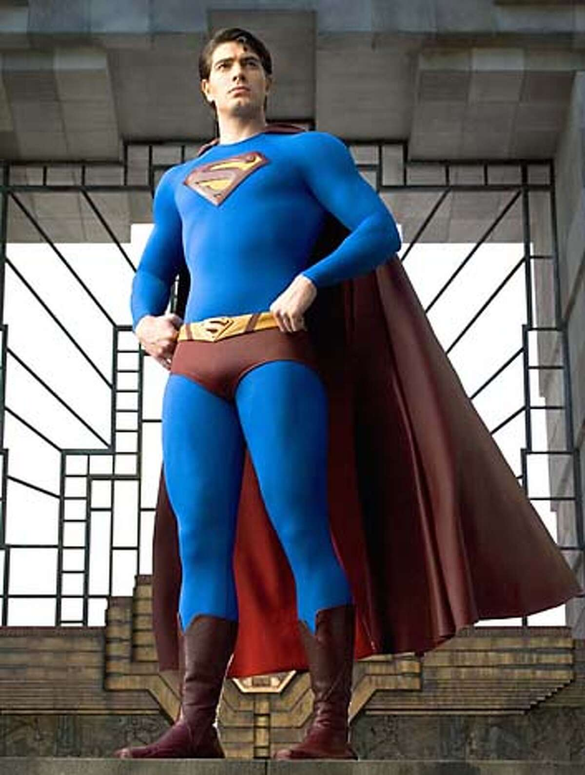 Actor Brandon Routh who stars as Superman is shown in this undated publicity photograph from the upcoming film 'Superman Returns' which is scheduled for release in 2006. NO SALE NO ARCHIVES REUTERS/David James/Warner Bros. Pictures/Handout
