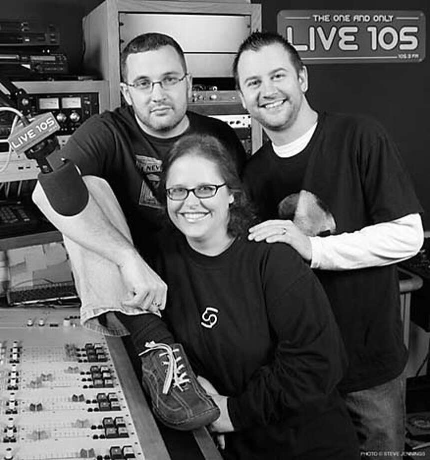 Live 105�s new morning show is called �The Morning Music Co-Op,� a mix of alt-rock, comedy, and news, and will be anchored by three escapees from Chicago: Jeff �Woody� Fife, 29, Tony Mott, 28, and Renae Ravey, 36. Photo: Live 105