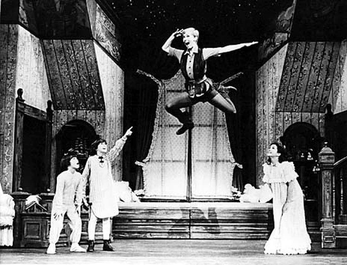 Johnny Morgal as Michael, Matt McGrath as John, Sandy Duncan as Peter Pan, and Marsha Kramer as Wendy in Peter Pan at the Golden Gate Theatre October 13, 1981.