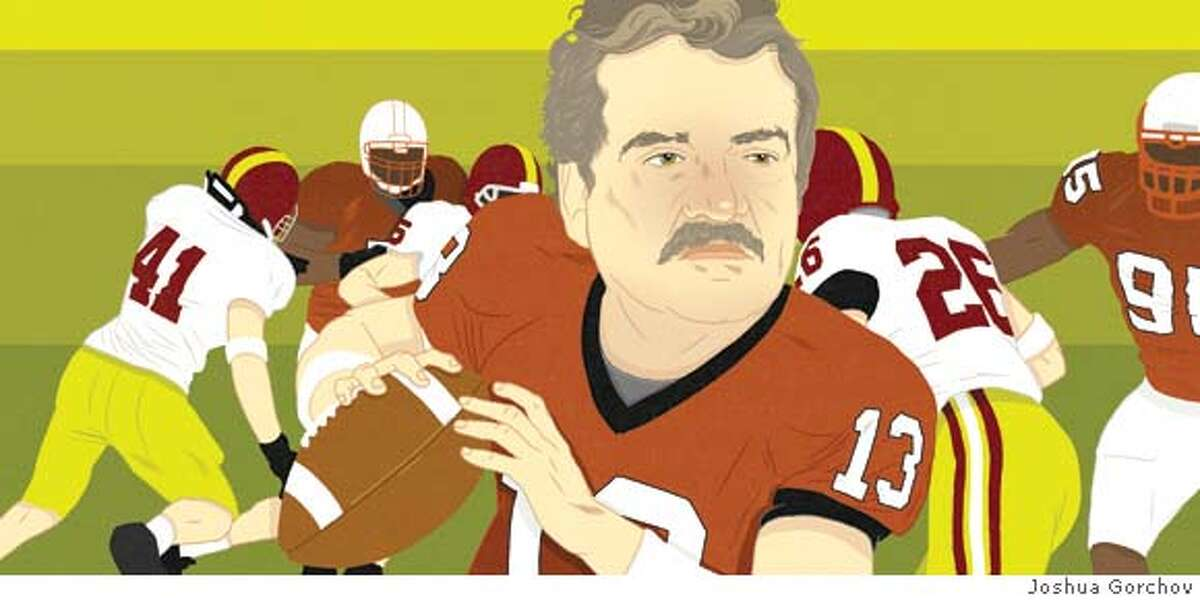 Illustrated portrait of Hans Gumbrecht for the BRIGHT IDEAS column of 8/26/07 issue of SUNDAY MAGAZINE -- FIRST REPRODUCTION RIGHTS ONLY; OK to post on sfgate with article